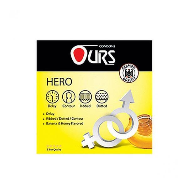کاندوم هیرو اورز | 3 عدد | دارای خاصیت تاخیری، خاردار و اسانس موز و عسل