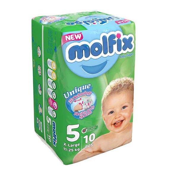 پوشک بچه سایز 5 مولفیکس | 10 عدد | راحت و انعطاف پذیر، دارای نشانگر تعویض