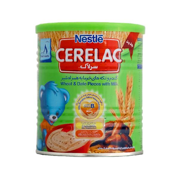 سرلاک گندم و تکه های خرما به همراه شیر نستله | 400 گرم | غذای کمکی کامل کودکان از پایان 8 ماهگی