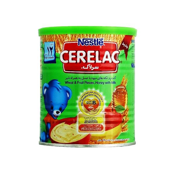 سرلاک گندم و تکه های میوه با عسل به همراه شیر نستله | غذای کمکی کامل کودکان از پایان 12 ماهگی