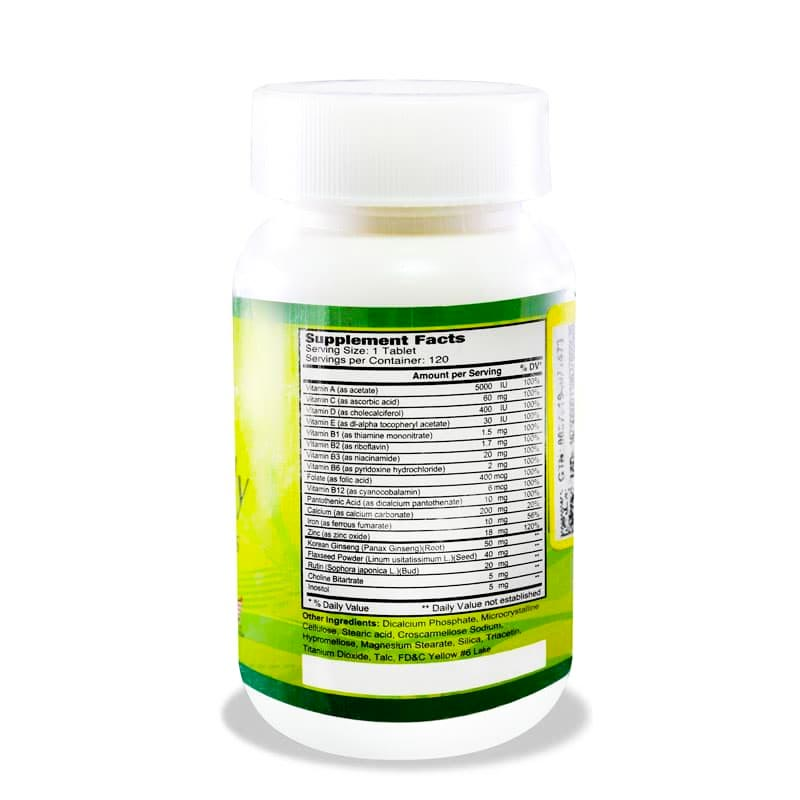 کپسول مولتی دیلی آلفا ویتامینز   120 عدد   مولتی ویتامین و تامین انرژی مورد نیاز بدن