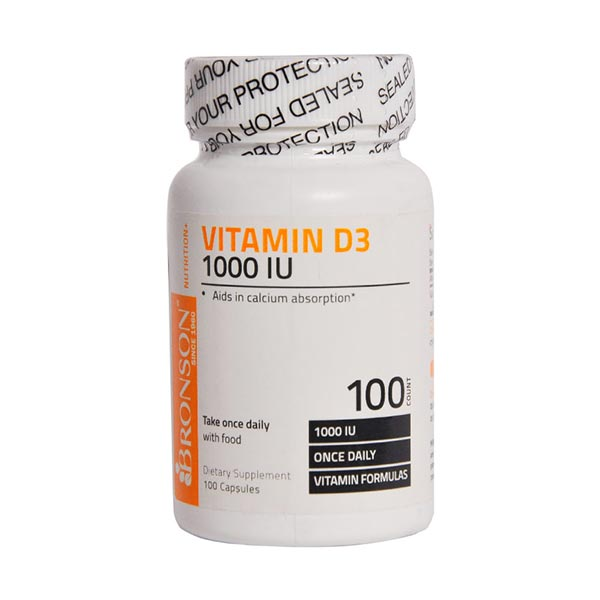 کپسول ویتامین د 3 1000 برونسون | 100 عدد | کمک به حفظ سلامت استخوان و سیستم ایمنی
