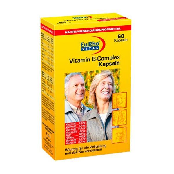 کپسول ویتامین ب کمپلکس یورو ویتال   60 عدد   تامین انرژی و تقویت سیستم عصبی