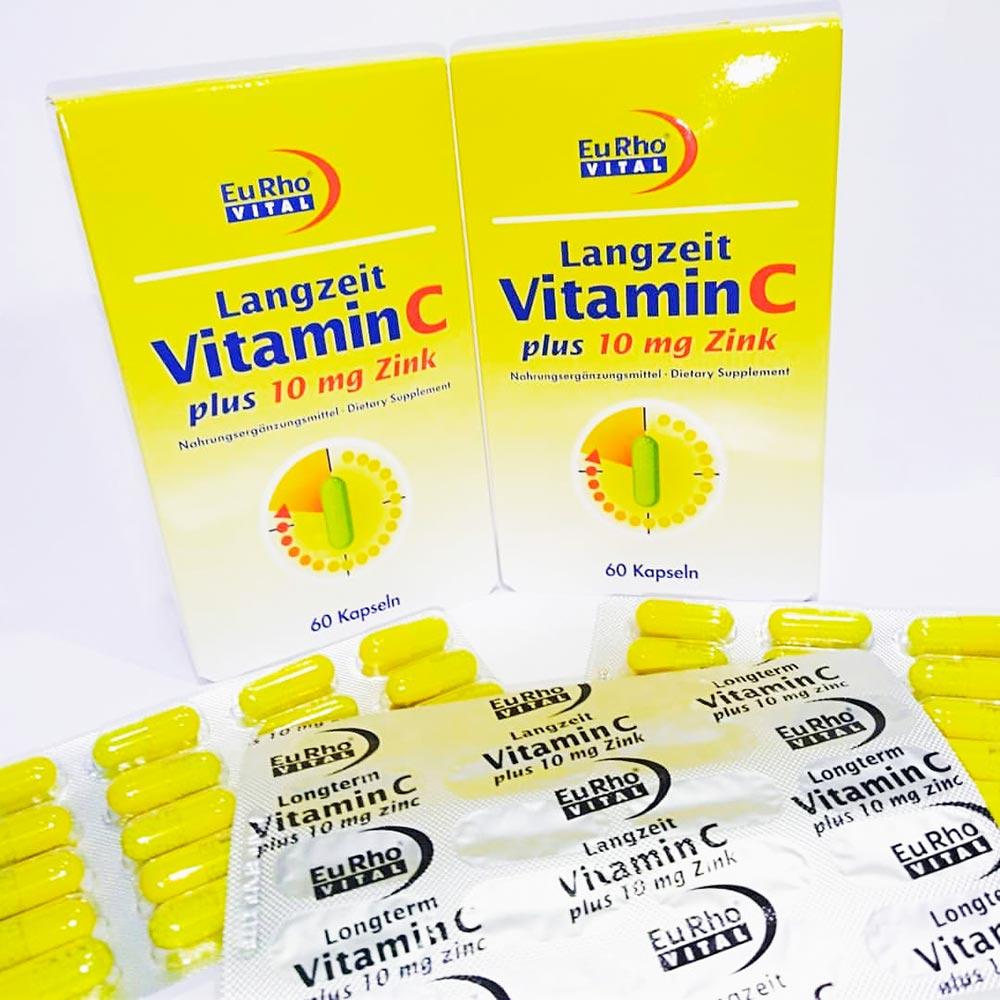 کپسول ویتامین C و زینک 10 میلی گرم یورو ویتال | 60 عدد | جلوگیری از ریزش مو و تقویت سیستم ایمنی