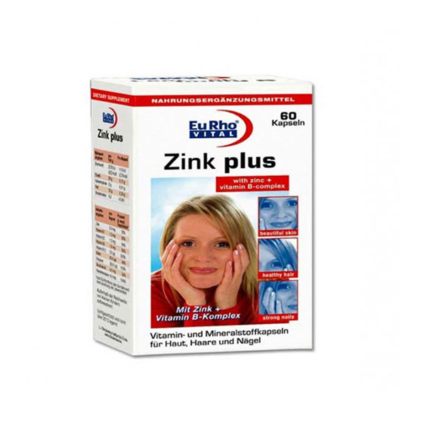 کپسول زینک پلاس 10 میلی گرم یوروویتال | 60 عدد | کمک به حفظ سلامت پوست، مو، ناخن