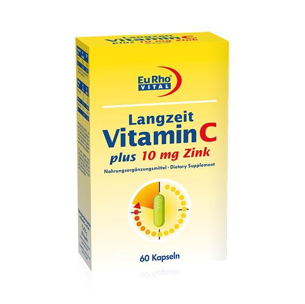کپسول ویتامین C و زینک 10 میلی گرم یورو ویتال   60 عدد   جلوگیری از ریزش مو و تقویت سیستم ایمنی
