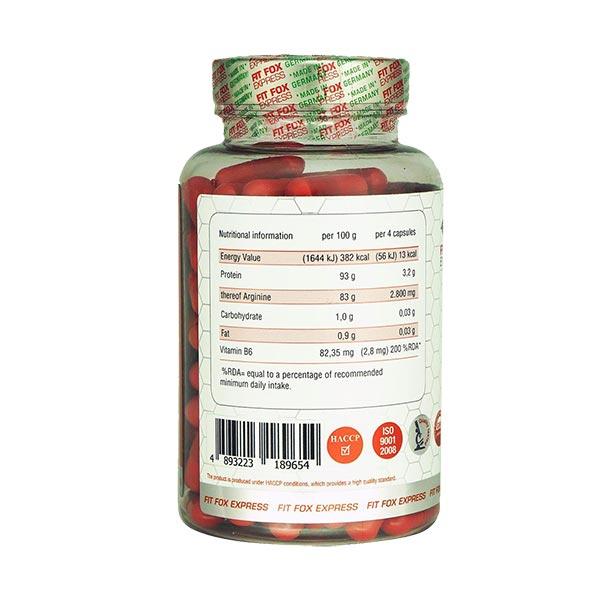کپسول آرژنین اکستریم فیت فاکس | 120 عدد | افزایش انرژی و خونرسانی به عضلات همراه با پروتئین