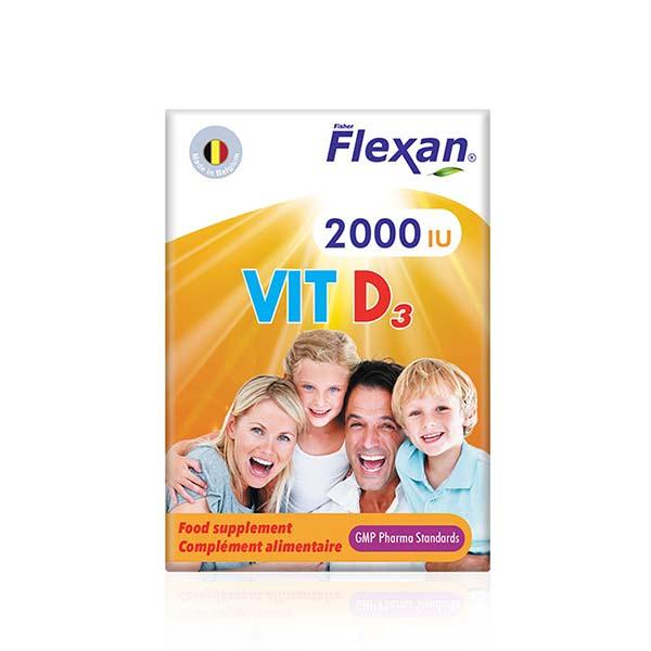 کپسول ویتامین 2000 D3 فلکسان | 60 عدد | افزایش جذب کلسیم در استخوان و دندان