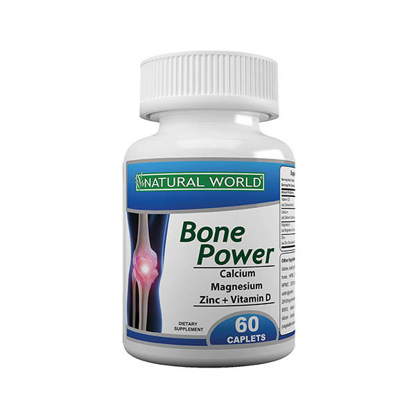 قرص بون پاور نچرال ورلد | 60 عدد | کمک به جلوگیری و درمان پوکی استخوان و نرمی استخوان