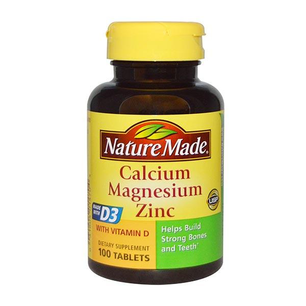 کلسیم منیزیم زینک و ویتامین D نیچرمید   100 عدد   سلامت استخوان و تنظیم سیستم ایمنی