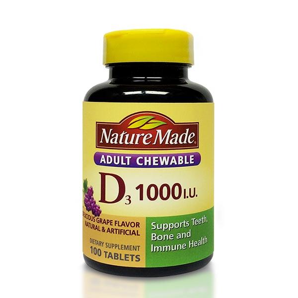 قرص ویتامین D3 1000 نیچرمید | 100 عدد | حفظ سلامت دندان، استخوان و سیستم ایمنی بدن