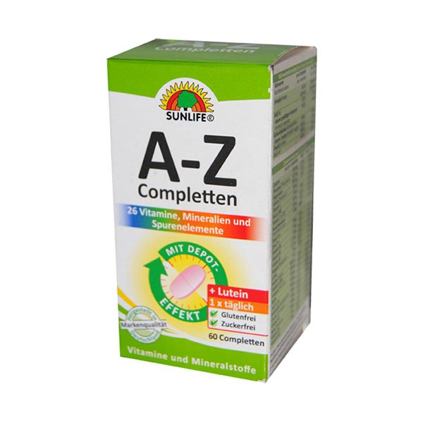 قرص مولتی ویتامین آ-زد همراه با لوتئین سان لایف | 60 عدد | تقویت سیستم عصبی, تقویت سیستم ایمنی بدن