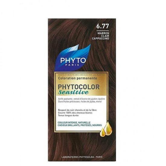 کیت رنگ موی سنسیتیو فیتو | شماره 6.77 - قهوه ای کاپوچینو | مناسب پوست سر حساس