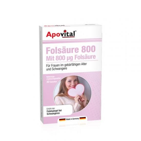 قرص اسید فولیک 800 آپوویتال | 30 عدد | رفع کم خونی ناشی از کمبود فولیک اسید