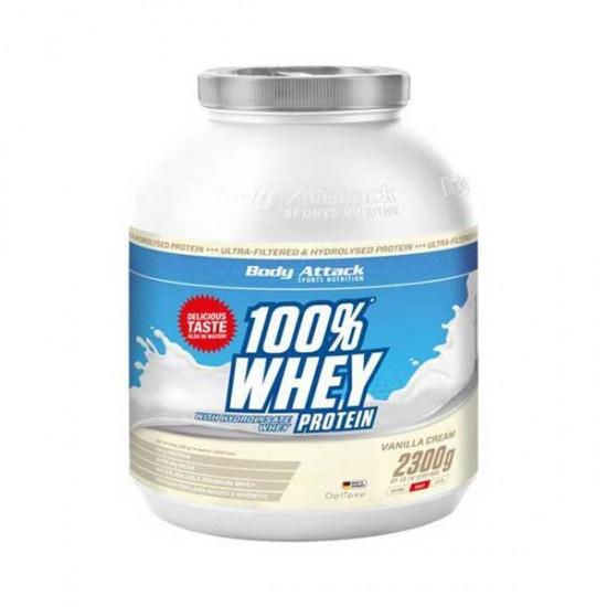 پودر پروتئین وی 100% بادی اتک   2300 گرم   خلوص بالا و مناسب برای عضله سازی