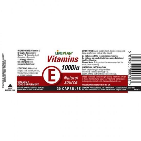 کپسول ویتامین ای 1000 لایف پلن | 30 عدد | تقویت سیستم ایمنی، اعصاب، پوست و مو