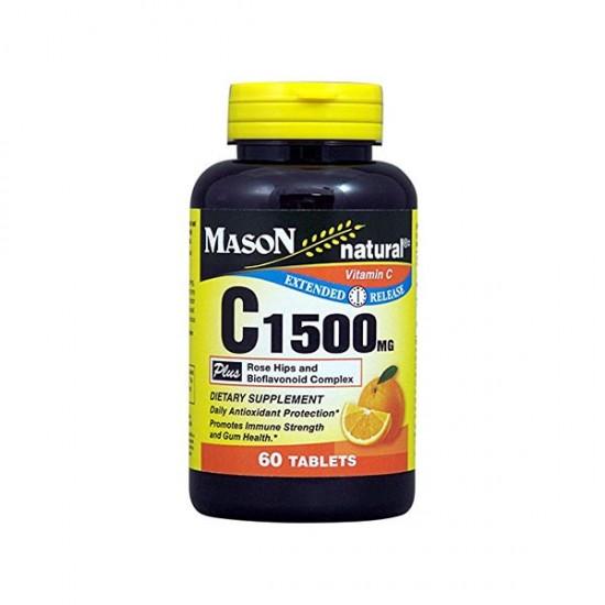 قرص ویتامین سی 1500 میسون نچرال | 60 عدد | تقویت سیستم ایمنی و مقابله با سرماخوردگی