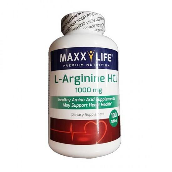 قرص ال آرژنین 1000 ماکسی لایف | 100 عدد | افزایش خونرسانی به عضلات