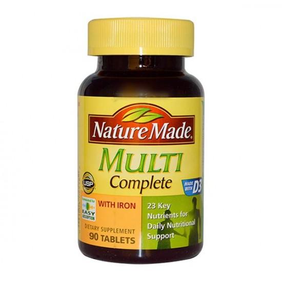 قرص مولتی کامپیلیت نیچرمید   90 عدد   کامل ترین مولتی ویتامین بزرگسالان