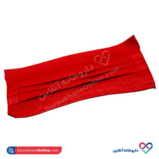 ماسک سه لایه پرستاری انزانی ( قرمز رنگ)   بسته بندی 10 عددی