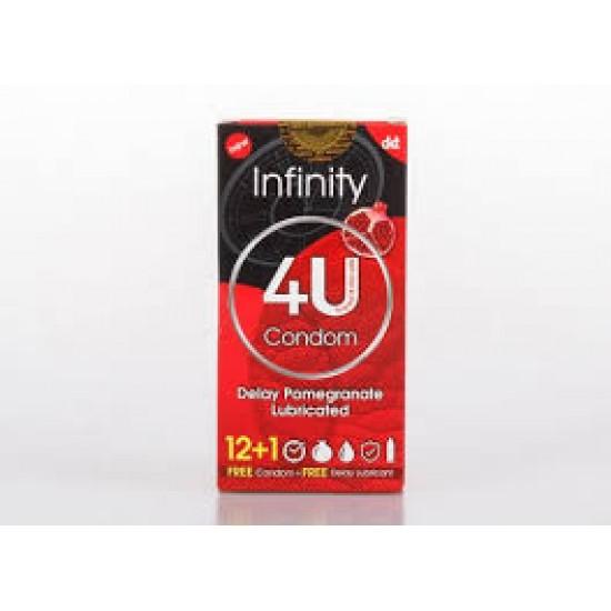 کاندوم انفینیتی فوریو |12+1| کاندوم ساده با اسانس انار،حاوی روان کننده،یک عدد ساشه ژل تاخیری