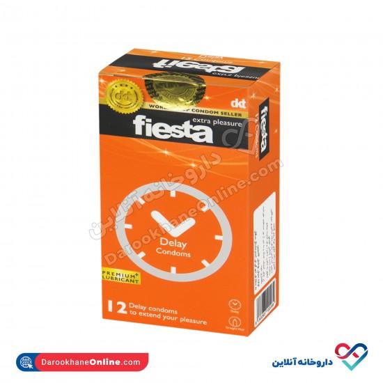 کاندوم ساده تاخیری فیستا | 12 عدد | حاوی بنزوکائین برای ایجاد تاخیر و لذت طولانی تر