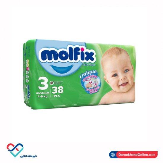 پوشک بچه سایز 3 مولفیکس | 38 عدد | سازگار با پوست حساس کودک