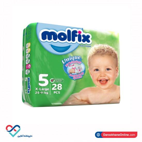 پوشک بچه سایز 5 مولفیکس   28 عدد   سازگار با پوست حساس کودک