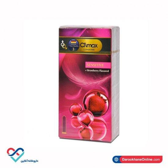 کاندوم سنستیو کلایمکس | 12 عددی | حاوی ماده  ضد حساسیت و روان کننده | اسانس توت فرنگی