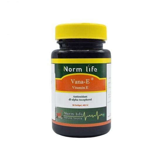 کپسول ژلاتینی وانا E نورم لایف | 60 عدد | ویتامین ای جهت حفظ سلامت پوست