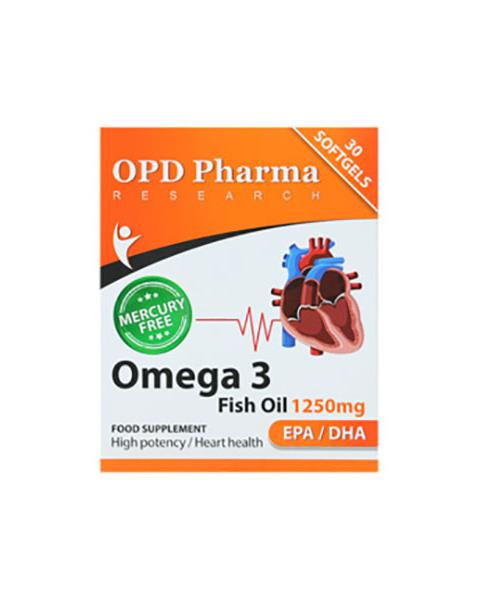 کپسول ژلاتینی امگا 3 1250 میل او پی دی فارما   30 عدد   کمک به حفظ سلامت قلبی - عروقی و تنظیم فشار خون