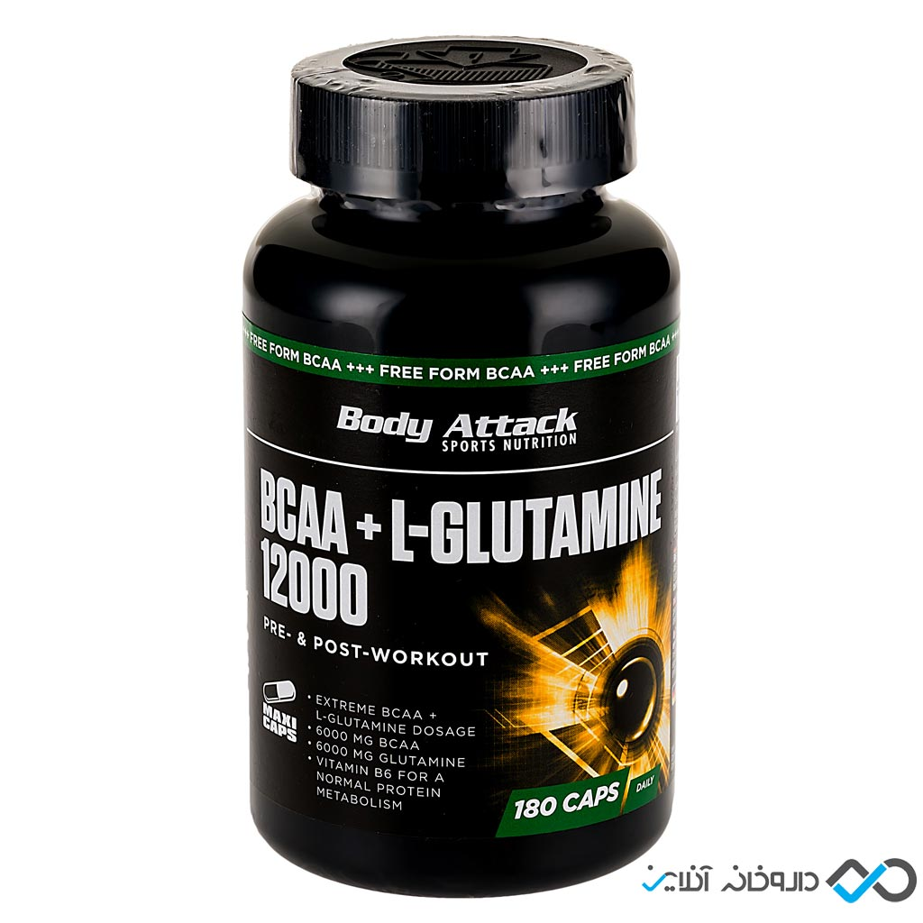 کپسول بی سی ای ای و ال گلوتامین 12000 بادی اتک   180 عدد   محصول ترکیبی برای ورزشکاران