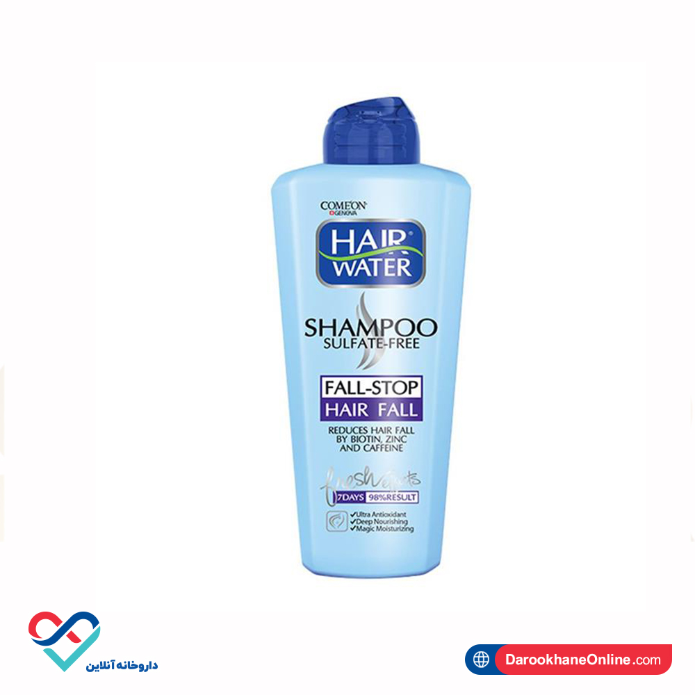 شامپو هیر واتر ضد ریزش کامان بدون سولفات   400 میلی   استحکام بخش موهای نازک و ضعیف
