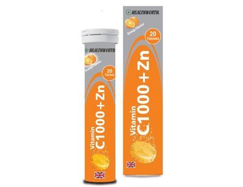 قرص جوشان ویتامین سی 1000 و زینک هلث ورث | 20 عدد | تقویت سیستم ایمنی و پیشگیری از سرماخوردگی