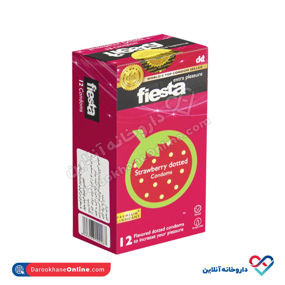 کاندوم خاردار توت فرنگی فیستا | 12 عدد | خاردار با دیواره صاف با اسانس توت فرنگی