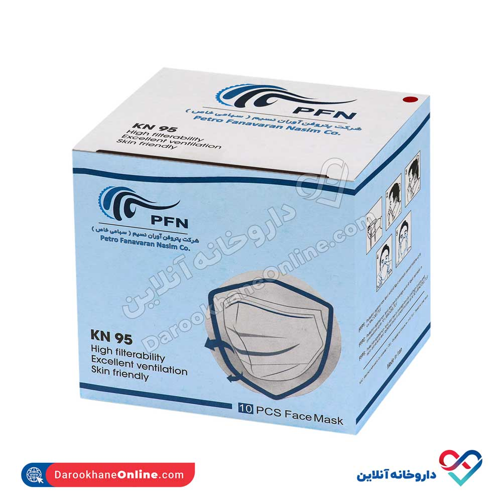 ماسک KN95 فیلتر دار   5 لایه ملت بلون به همراه کربن   بسته 8 عددی
